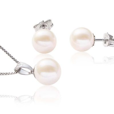 7-8mm Round White Pearl Pendant and Earrings Set