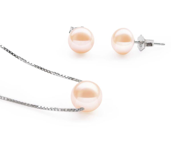 7-8mm Pink Add A Pearl Necklace and Earrings Set