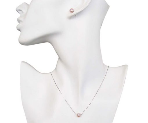 7-8mm Mauve Add A Pearl Necklace and Earrings Set