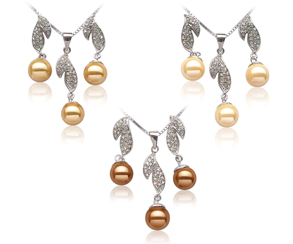 Gold, Champagne and Chocolate 10mm SSS Pearl Necklace and Earrings Set, 18K WG Overlay