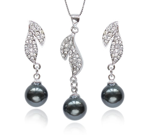 Black 10mm SSS Pearl Necklace and Earrings Set, 18K WG Overlay