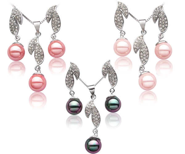 Rose Pink, Pale Pink and Peacock Black 10mm SSS Pearl Necklace and Earrings Set, 18K WG Overlay