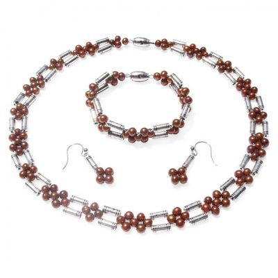 Chocolate 5-6mm Semi-Round Pearl Necklace, Bracelet and Earring Set