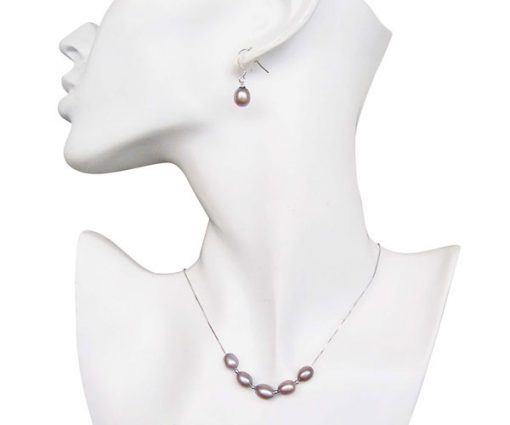 Mauve 7-8mm Add A Pearl Necklace and Earring Set, 925 SS