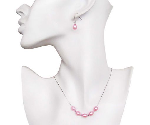 Pink 7-8mm Add A Pearl Necklace and Earring Set, 925 SS