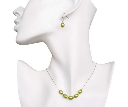 Olive Green 7-8mm Add A Pearl Necklace and Earring Set, 925 SS