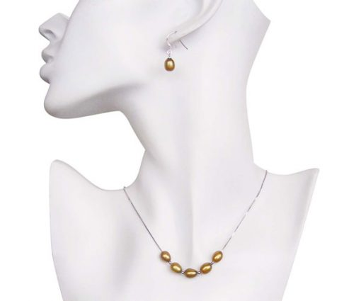 Dark Gold 7-8mm Add A Pearl Necklace and Earring Set, 925 SS