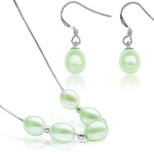 Light Green 7-8mm Add A Pearl Necklace and Earring Set, 925 SS