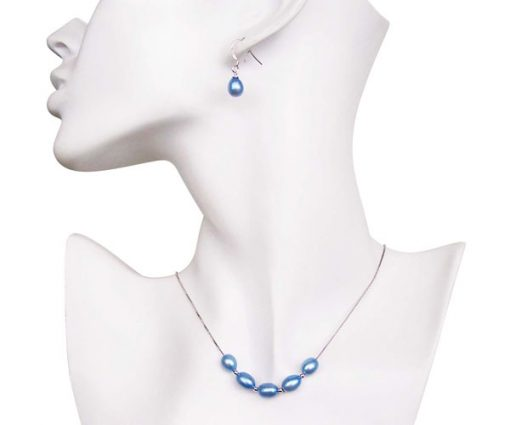 Royal Blue 7-8mm Add A Pearl Necklace and Earring Set, 925 SS
