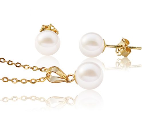 White 6-7mm Round Pearl Pendant and Earrings Set, 14K YG