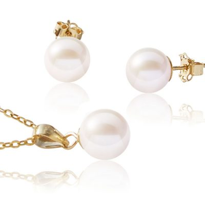 Add a Pearl Necklace and earrings set in 14ky gold