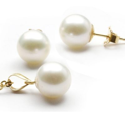 White 8-9mm Round Pearl Pendant and Earrings Set in 14K YG
