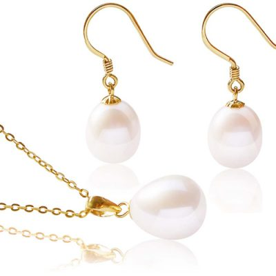 9-10mm AA+ Drop Pearl Earrings and Pendant Set in 14K YG