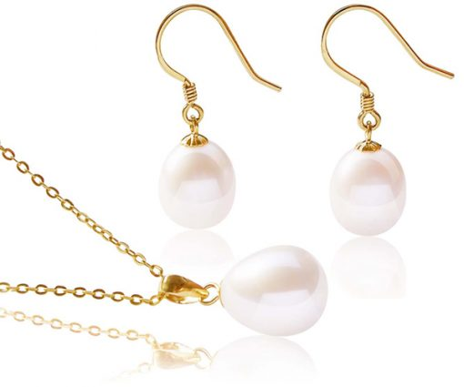 9-10mm AA+ Drop Pearl Earrings and Pendant Set in 14K YG