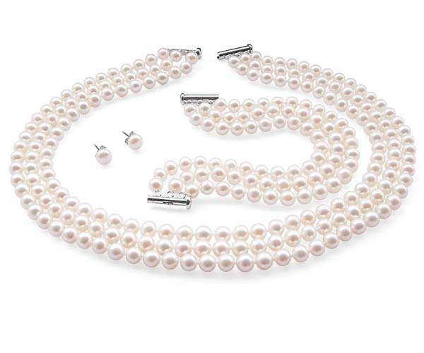 White 7-8mm Jackie O Famous Look-a-like 3-row Round Pearl Necklace, Bracelet, and stud Earrings Set