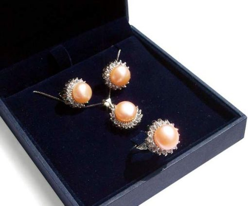 Pink Pearl Necklace, Earrings and Ring Set of 3 in Silver