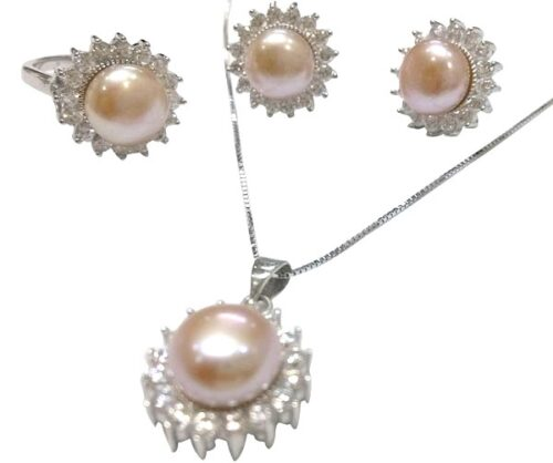 Mauve Pearl Necklace, Earrings and Ring Set of 3 in Silver