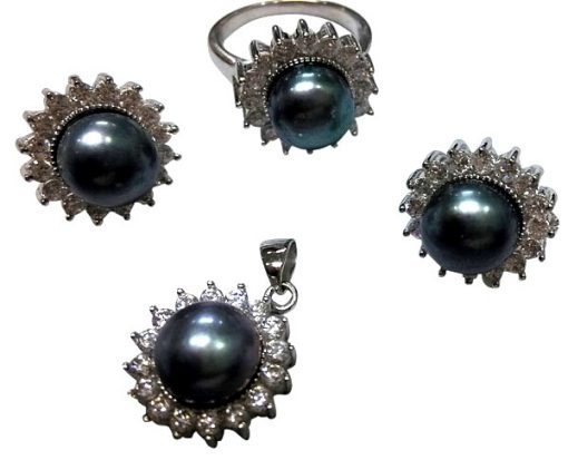 Black Pearl Necklace, Earrings and Ring Set of 3 in Silver