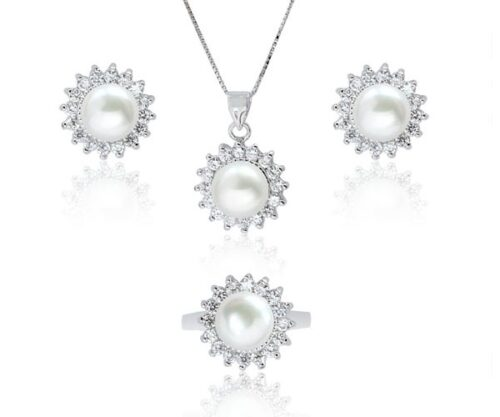 White 9-10mm Pearl Necklace, Earrings and Ring Set in Silver, 16in SS Chain