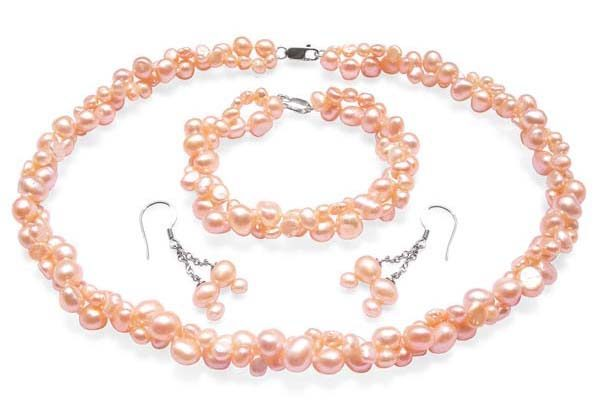 Pink 4-5mm and 7-8mm Baroque Pearl Necklace, Bracelet and Earrings Set of 3, 925 SS