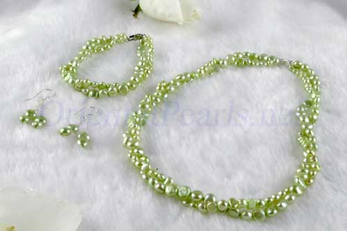 Olive Green 4-5mm and 7-8mm Baroque Pearl Necklace, Bracelet and Earrings Set of 3, 925 SS