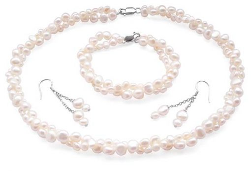 White 4-5mm and 7-8mm Baroque Pearl Necklace, Bracelet and Earrings Set of 3, 925 SS