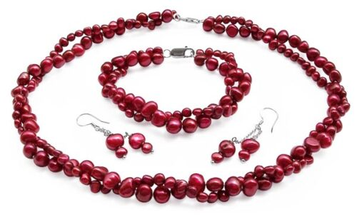 Cranberry 4-5mm and 7-8mm Baroque Pearl Necklace, Bracelet and Earrings Set of 3, 925 SS