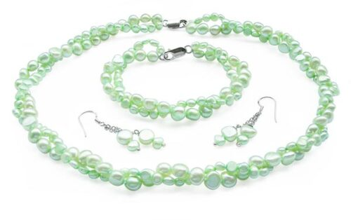 Light Green 4-5mm and 7-8mm Baroque Pearl Necklace, Bracelet and Earrings Set of 3, 925 SS