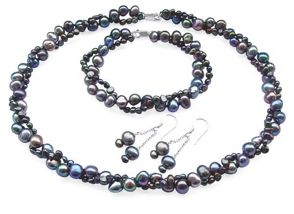 Black 4-5mm and 7-8mm Baroque Pearl Necklace, Bracelet and Earrings Set of 3, 925 SS