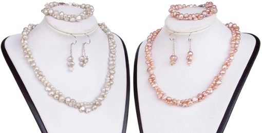 White and Pink 4-5mm and 7-8mm Baroque Pearl Necklace, Bracelet and Earrings Set of 3, 925 SS