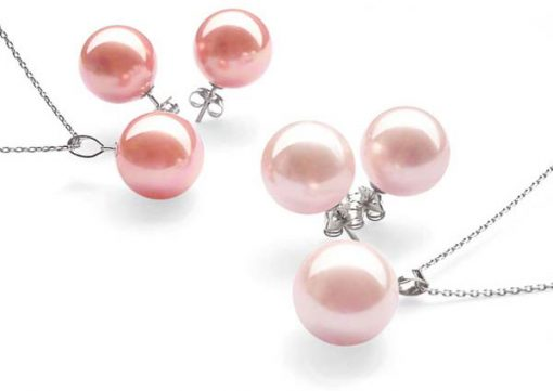 Rose Pink and Pale Pink 8mm SSS Pearl Necklace and Earrings SS Set