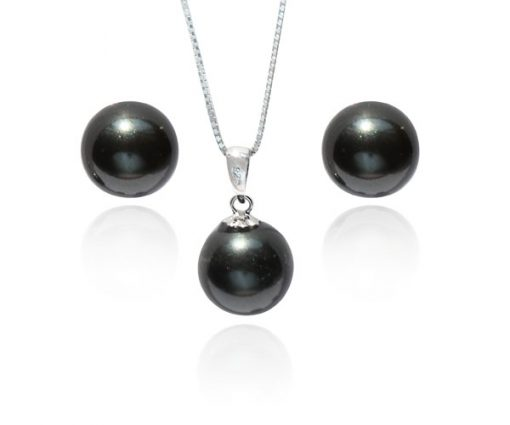 Black 8mm SSS Pearl Necklace and Earrings SS Set