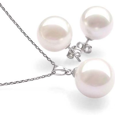 White 8mm SSS Pearl Necklace and Earrings SS Set