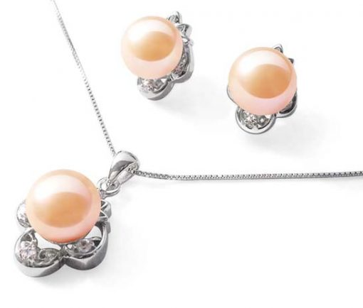 Pink High AAA Quality Pearl Necklace and Earrings SS Set