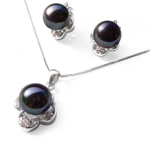 Black High AAA Quality Pearl Necklace and Earrings SS Set