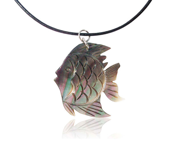 Silver Hand Carved MOP Goldfish Pendant, Free Leather Cord