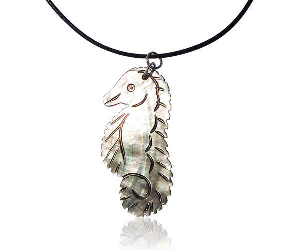Silver Hand Carved MOP Seahorse Pendant, Leather Cord