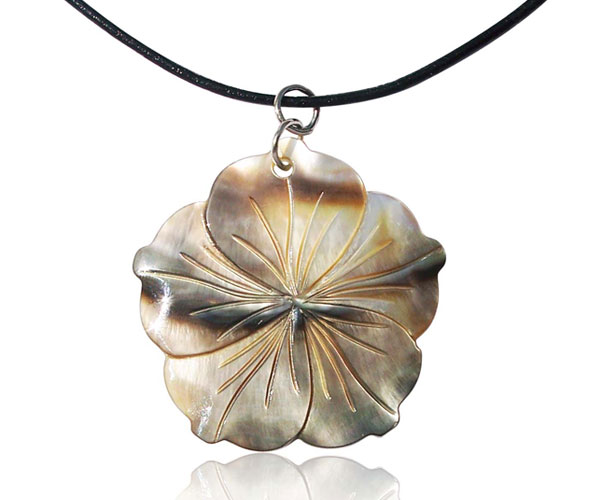 Gold Hand Carved MOP Flower Pendant, Free Leather Cord