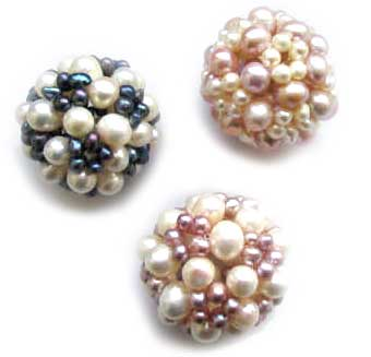 White/Pink, White/Black and White/Lavender Pearl Large Ball at 1 1/2