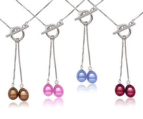 Chocolate, Hot Pink, Blue and Cranberry Dangling Drop Pearl Pendant in 925 SS with a Toggle Clasp