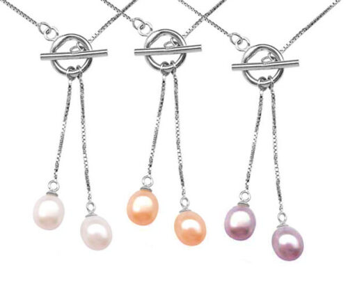 White, Pink and Mauve Dangling Drop Pearl Pendant in 925 SS with a Toggle Clasp