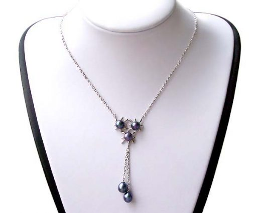 Black Triple Flower Designer Pearl Pendant in 925 SS, Spring Ring Clasp