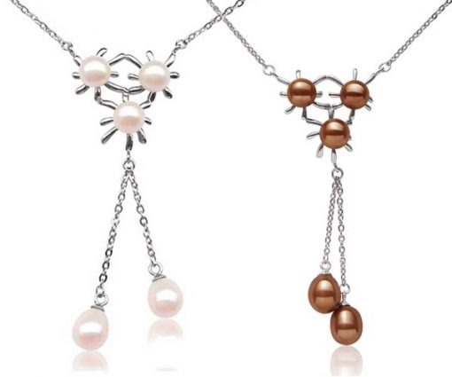 White and Chocolate Triple Flower Designer Pearl Pendant in 925 SS, Spring Ring Clasp