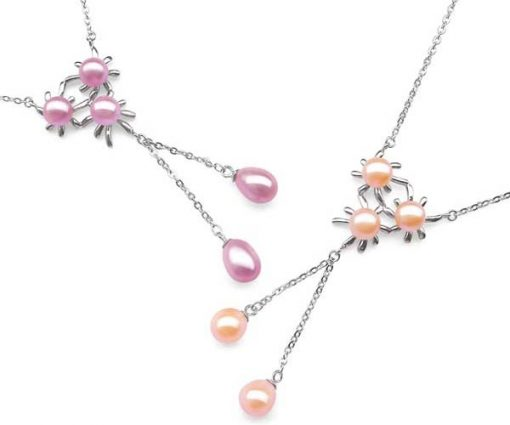 Pink and Mauve Triple Flower Designer Pearl Pendant in 925 SS, Spring Ring Clasp