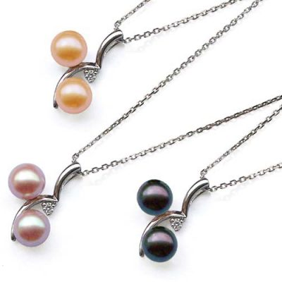Pink, Mauve and Black 8mm Pearl Pendant in a 925 SS Cherry Shaped Setting with a CZ Diamond, 16in