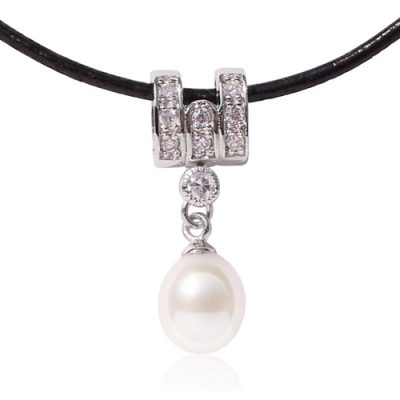 White 7-8mm Drop Pearl Silver Pendant, Free Leather Cord