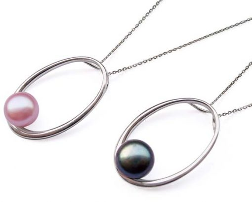 Mauve and Black 10mm SS Loop Pendant