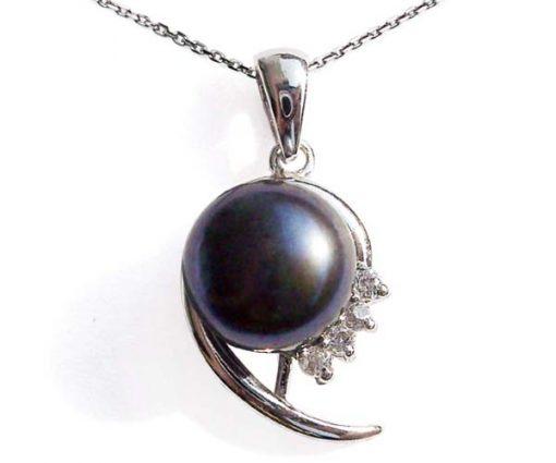 Black 10mm Large Pearl 925 SS Pendant in CZ Diamonds