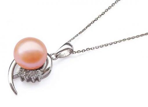 Pink 10mm Large Pearl 925 SS Pendant in CZ Diamonds