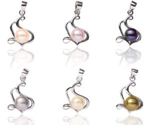 Mauve, Pink, Black, Grey, White and Dark Golden Rod 7-8mm Pearl Pendant in 925 SS, 16in Silver Chain